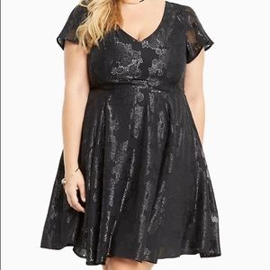 Torrid Floral Print Chiffon Black Skater Dress